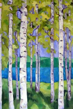 artist beth munro -- really like the depth of the background and the softness of the leaves. Landscape Quilts, Landscape Art, Landscape Paintings, Landscapes, Tree Paintings, Birch Tree Art, Guache, Arte Floral, Watercolor Paintings
