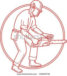 Mono line style illustration of lumberjack arborist tree surgeon wearing helmet protective gear holding operating a chainsaw viewed from the side set inside circle on isolated background.  #lumberjack #monoline #illustration