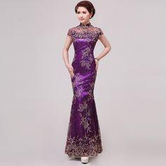 New Fashion Cheongsam Purple Cutout Fish Tail Lace Design Sexy Long Cheongsam Plus Qipao Hanfu Size Chinese Traditional Dress