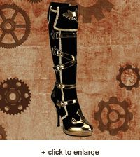 "Our Steampunk Princess Boot is about as pretty and powerful as they come! Surprisingly comfortable, the pairing of black and gold is striking and stylish. And that 5"" heel lends a certain sass to your step! #steampunk http://www.pearsonsrenaissanceshoppe.com/steampunk-princess-boot.html"