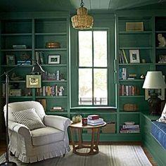 The Study - Pure Country Christmas Farmhouse - Southern Living [green paint = Farrow & Ball's Green Smoke] Interior Paint Colors, Interior Design, Smoke Painting, Farrow And Ball Paint, Farrow Ball, Farmhouse Paint Colors, Green Rooms, Southern Living, Southern Farmhouse