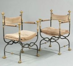 Pair of Iron and Gilt Curule Chairs | Rose Uniacke