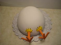 Easter Egg Chick - Thanks to maraschino for this great idea. White cake, chocolate bavarian cream filling, covered in fondant.