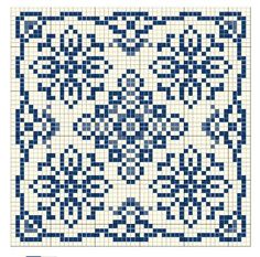 Traditional cross stitch pattern in blue & white