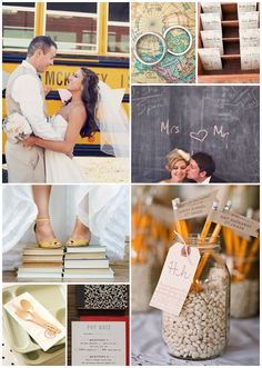 Teacher Wedding- love the pic in front of the bus and standing on the books Wedding Prep, Red Wedding, Wedding Photos, Wedding Planning, Teacher Wedding, Vows For Her, Teacher Photo, Eclectic Wedding, High School Sweethearts