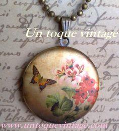 "Guardapelo ""Vintage butterfly"""