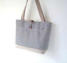 Dark Blue Stripe Shoulder with 2 Front Pockets Big by BagyBag, $56.70