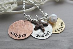 Personalized Beach Star Fish Necklace, Sterling Silver Hand Stamped Jewelry, Three Disc Name Necklace, White Pearl Birthstone $42