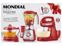 Kit Gourmet Red Premium Mondial - com Liquidificador + Batedeira + Espremedor com as melhores condições você encontra no Magazine Dinartesantos. Confira!