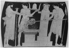 Sacrifice to Hermes. Column-krater, c. 460. Naples, Mus Naz. From Pfuhl, MuZ, Fig. 477.