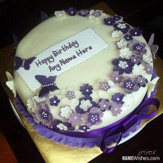 Purple Happy Birthday Cake With Name