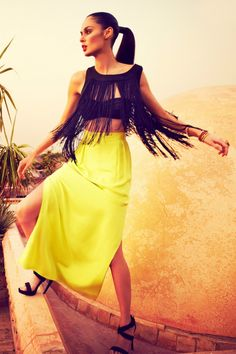 Fringe Top. Bright Yellow Maxi Skirt. Crop Top and Maxi Skirt. Summer Fashion. Summer Outfit. Kookai