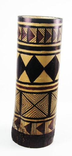 Hand-Painted Bamboo Vase  African Tribal Design by WitchesHammer