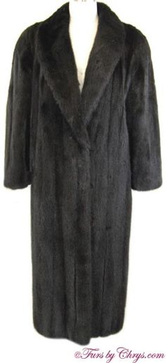 Black Mink Coat BM825; $2000 (was $3000); Excellent Condition; Size range: 6 - 10 Petite. This is a spectacular genuine black ranch mink fur coat constructed of female pelts. It features a very large and luxurious shawl collar, straight sleeves, and built-in shoulder pads.Your purchase will be accompanied by a copy of an appraisal showing the present valuation to be $20,000. The mink fur is very silky soft, shiny and lightweight. Wear when the occasion dictates elegance and sophistication! Mink Coats, Mink Fur, Fur Coat, Shoulder Pads, Ranch, Shawl, Women's Fashion, Style Inspiration, Female