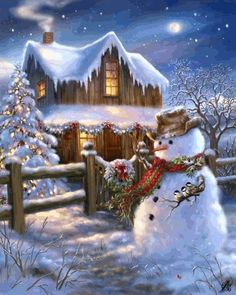 Put on your cowboy hat and boots - The Country Christmas is here! This 500 piece puzzle depicts a beautiful night scene with a wooden cabin, and a snowman dressed up with a cowboy hat - The perfect puzzle to get you into the Christmas spirit! Christmas Past, Christmas Images, Country Christmas, Christmas Snowman, Christmas Holidays, Christmas Crafts, Christmas Decorations, Christmas Puzzle, Winter Christmas Scenes