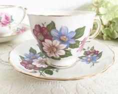 Vintage Royal Vale Floral Teacup: Tea party teacup, Vintage teacup, Floral teacup, Purple teacup, birthday present.