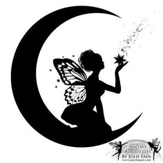 Silhouette Fairy On Half Moon Tattoo Stencil Stencils, Fairy Silhouette, Silhouette Images, Moon Silhouette, Silhouette Clip Art, Fairy Lanterns, Fairy Tattoo Designs, Fairy Jars, Star Tattoos