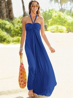 Maxi Bra Top Dress blue