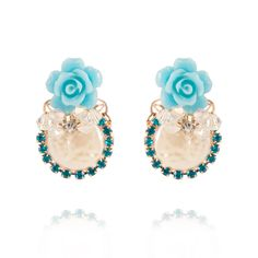 I's Manor House Antique Porcelain Blue Rose with Pearl and Blue Crystal Gold-tone Earrings