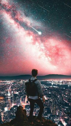 Man On Mountain City Night Galaxy View Stars Iphone Wallpaper Free – GetintoPik Urban Photography, Creative Photography, Photography Poses, Amazing Photography, Cool Pictures, Cool Photos, Beautiful Pictures, Marshmello Wallpapers, Urbane Fotografie