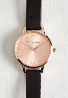 Undisputed Class Watch in Rose Gold/Black - Petite by Olivia Burton - Black, Work, Casual, Menswear Inspired, Best, Variation, Basic