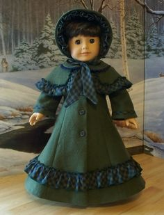 """Victorian Christmas Caroler Outfit, Coat, Bonnet and Pelerine - Made to fit 18"""" American Girl Doll"""