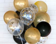 US ONLY - Gold & Black Confetti Balloon Bouquet - Celebration, Set of 20, Wedding, Birthday, Party