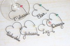 Personalized Wine Glass Charms - what a great potential bridal party gift! $7.00, via Etsy.