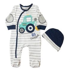 http://www.googababywear.com/baby-boys-c14/sleepsuits-rompers-c25/babaluno-baby-digger-sleepsuit-and-hat-set-p390