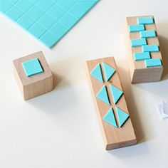Create your own geometric shaped stamps with foam stickers - you can also add the stickers to bottle caps!
