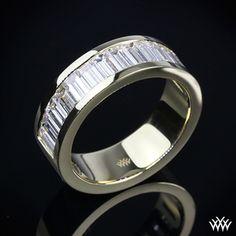 308e8024c064 Custom 18k Yellow Gold Baguette Diamond Wedding Band