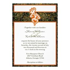 camo wedding invitations the front design features a buck and doe ...