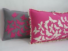 Hot Pink Butterfly Pillows by Cheeky Monkey Home, available on Etsy!