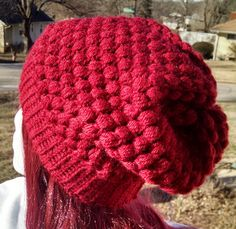 #craftshout Red Handmade Crochet Slouchy Hat Beanie Hat  one size by atiltKC