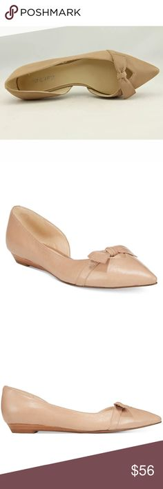 Nine West nude bow flip on flat shoes Brand new without box. Sizes available: 8. I also have these available in size 6.5, 7.5, & 8.5 in the dusty blue color. These are genuine leather and gorgeous classic flats. Nine West nude bow flip on flat shoes. Nine West Shoes Flats & Loafers