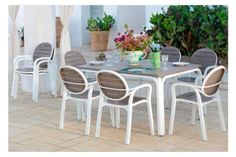 NARDI ALLORO 7 PIECE DINING SETTING WITH EXTENDIBLE Garden Furniture, Home Furniture, Outdoor Furniture Sets, Furniture Design, Outdoor Tables, Outdoor Decor, Commercial Furniture, Outdoor Settings, Terrazzo