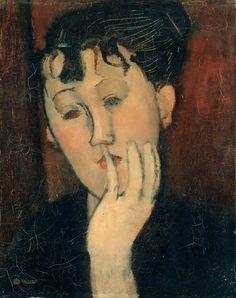 Femme la main au menton - Marthe #modigliani #portrait #femme #montableau