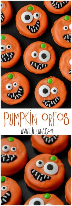 Candy Coated PUMPKIN OREOS - such a cute, festive and delicious treat to make for Halloween!