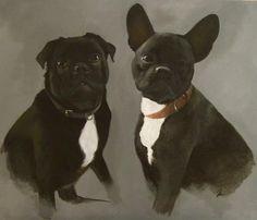Rosie Holtby Original Artwork  www.rosieholtby.com Original Artwork, French Bulldog, Fine Art, The Originals, Dogs, Animals, Animales, Bulldog Frances, Animaux