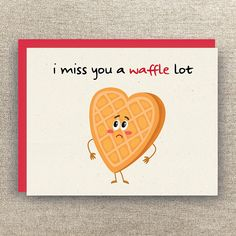 Miss You Card - I Miss You a Waffle Lot - Waffle Pun Card - Thinking of You Card - Long Distance Relationship Card - Funny Miss You Card I Miss You Friend, I Miss You Meme, Miss You Funny, I Miss You Card, Funny Me, Funny Humor, Funny Stuff, Funny Quotes, Missing You Friendship