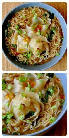 Housevegan.com: Mushroom Miso Ramen with Wontons and Spinach - My favorite ramen recipe ever!!! Homemade mushroom broth + miso + veggies + WONTONS = Amazing bowl of goodness.