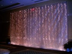 Gossamer and white lights--backdrop for head table? School Dance Decorations, Wedding Stage Decorations, Light Decorations, Table Decorations, Wedding Backdrops, Wedding Decor, Daddy Daughter Dance, Father Daughter, Head Table Decor