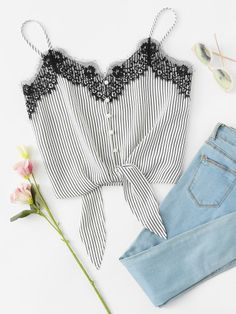 Casual Cami Striped Regular Fit Spaghetti Strap Black and White Crop Length Lace Insert Knot Front Striped Cami Top Striped Cami Tops, Crop Tops, Latest Fashion For Women, Womens Fashion, Casual Outfits, Fashion Outfits, Ootd Fashion, Fashion Black, Lace Insert