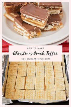 Christmas Crack Toffee Recipe Christmas crack toffee is a simple recipe that is one of my familys favorite Christmas treats! Made with club crackers, brown sugar and chocolate, this salty sweet dessert is addictingly delicious! Saltine Toffee, Cracker Toffee, Toffee Bars, Toffee Recipe With Crackers, Christmas Desserts, Christmas Treats, Christmas Baking, Christmas Cookies, Christmas Foods