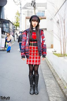 "Aria on the street in Harajuku wearing a plaid outfit with a jacket that says ""Good Luck, I'm Behind 7 Proxies"" on the sailor collar, a heart choker, leather backpack from WC, and lace up boots. Full Look Japanese Street Fashion, Tokyo Fashion, Harajuku Fashion, Punk Fashion, Fashion Wear, Japanese Streets, Style Fashion, Mode Harajuku, Harajuku Girls"