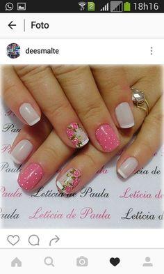Uñas Perfect Nails, Gorgeous Nails, Love Nails, Fun Nails, Pretty Nails, Nail Manicure, Nail Polish, Floral Nail Art, Short Nail Designs