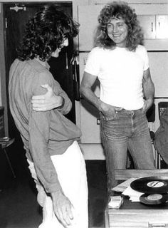 Robert Plant and Jimmy Page of Led Zeppelin 1979 Radio Great Bands, Cool Bands, Page And Plant, Elevator Music, Robert Plant Led Zeppelin, John Bonham, John Paul Jones, Whole Lotta Love, Rock And Roll Bands