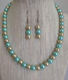 Aqua Blue Wedding Jewelry Blue and Champagne by CherishedJewelryCo