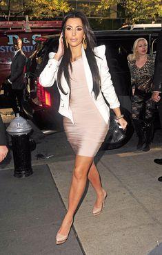 blush dress under a white blazer, and nude heels