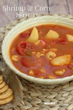 Creamy Shrimp & Corn Soup - Diary of A Recipe Collector Slow Cooker Recipes, Soup Recipes, Cooking Recipes, Chowder Recipes, Cajun Recipes, Shrimp Recipes, Shrimp And Corn Soup, Easy Vegetable Beef Soup